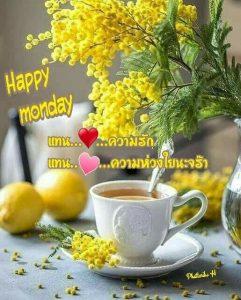 สวัสดีวันจันทร์ กาแฟ ดอกไม้สีเหลือง