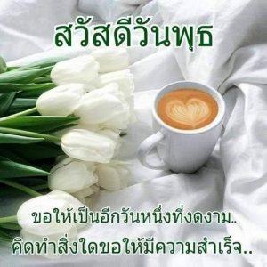 สวัสดีวันพุธ กาแฟ ดอกไม้ขาว